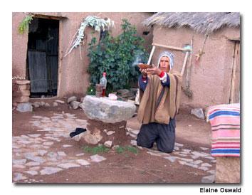 Peruvian Shaman/Shepherd Prepares a New Year's Blessing