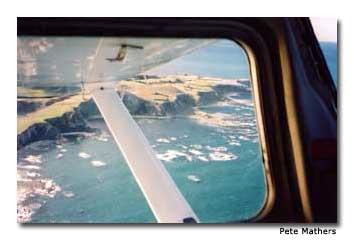 Flying over Kaikoura affords birds-eye views of sea cliffs.