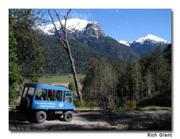 Four-wheel-drive vehicles departing from Peulla take visitors high into the Andes.
