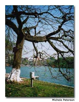 Hoan Kiem Lake is rimmed with cafes and shops, making it a perfect place to spend the morning.