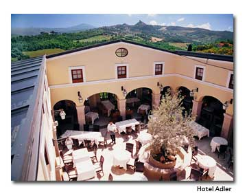 The outdoor dining patio at Adler Thermae Spa Resort