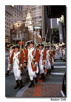 Three thousand British redcoats patrolled the streets of Boston in 1775, trying to suppress the growing rebellion.