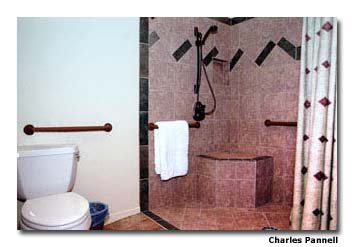 Rooms 1 and 2 at the Dream Catcher Inn have a roll-in shower with a built-in shower seat.
