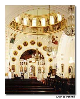Historic St. Nicholas Church is patterned after Istanbul's St. Sophia.