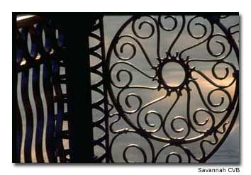 Whether on cemetery gates or used to decorate historic district mansions, intricate iron work is fairly common throughout Savannah.