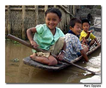 Children play on Inle Lake, the second-largest lake in Myanmar.