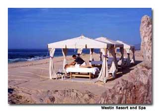 "These seaside cabanas used in the ""Ocean View Massage"" are a quiet location for a moment of complete relaxation."