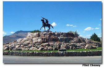 A statue of Buffalo Bill forever stands just outside of the Buffalo Bill Historical Center.