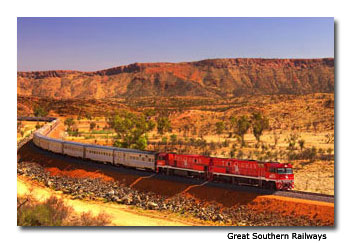 "The railway route follows the southern coast of Australia and then up north into the ""red center"" in the heart of the country."