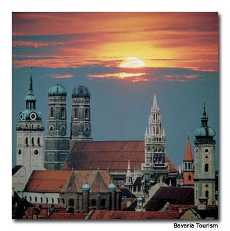 The Munich skyline at dusk.