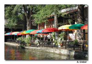 Shops and restaurants on the River Walk.