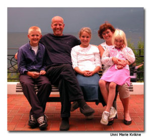 Unni Marie Kvikne with her husband, Eric, and their three children: Charlotte, Kingdon and Victoria. Unnie Marie is the fourth generation of innkeepers in Balestrand.