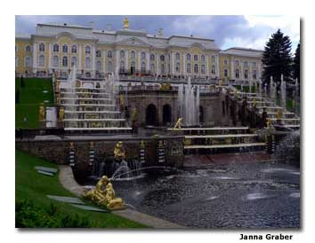 The opulent fountains at Peterhof Palace are a popular attraction.