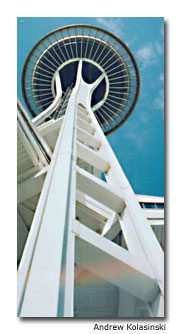 The Space Needle is a popular attraction because it's hard to miss.