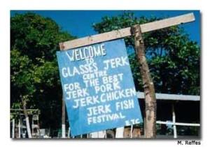 One of several jerk vendor signs on Boston Beach.