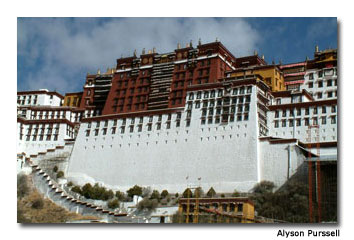 The Potala Palace draws visitors to marvel at its architecture.