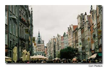 Vibrantly painted, Gothic-stylebuildings line the streets of Gdansk.
