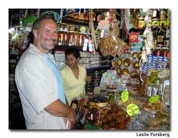 Eric samples some exotic sweets at the Mercado de Dulces y Artes.