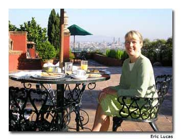 The author enjoys features magnificent views of downtown Morelia and its Cathedra from the hilltop terrace of Villa Montaña Hotel & Spa.