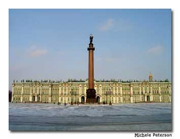 "Palace Square, in front of The Hermitage and Winter Palace, was the site of the ""Bloody Sunday"" massacre in January 1905."