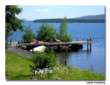 Lake Siljan residents enjoy a sunny day.