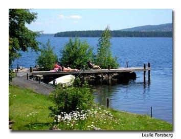 Lake Siljan residents enjoy a sunny day.