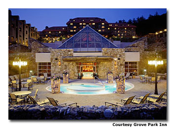 Visitors to the resort's spa can enjoy a picturesque outdoor soaking pool.