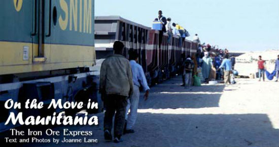 Passengers board the train in Nouadibhou, Mauritania.
