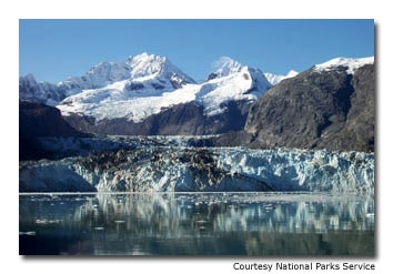 A view of the Johns Hopkins Glacier on a rare sunny day.