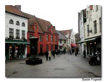 Charming cobblestone streets wind their way through Brugge, Belgium.