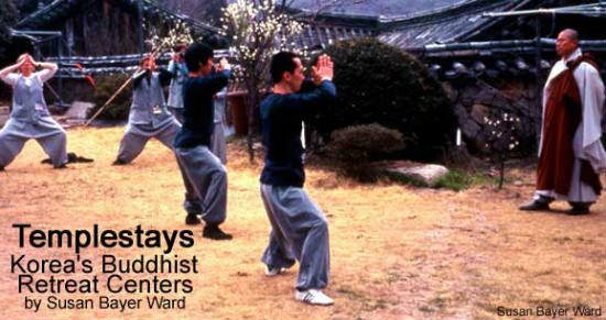 Guests try to keep up with the martial arts skills of the monks.