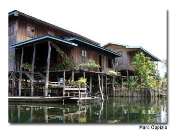 Stilted houses are a common site on Inle Lake.