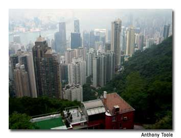 While hazy, the view from Victoria Peak encompasses the sprawling city.