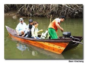 Khun Kii and guests motor through the canal on a fishing trip.