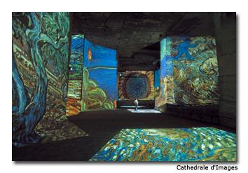 Thousands of pieces of Van Gogh's work are projected onto massive walls of limestone, synchronized with classical music.