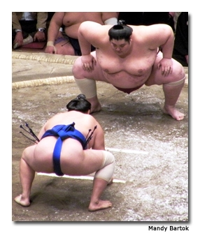 Two sumo wrestlers take to the ring.