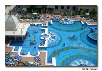 The Riu Palace Aruba has two huge swimming pools where guests can sit at the swim-up bar or relax in the sun