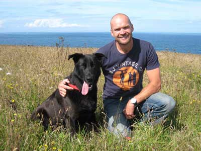 Montry Halls and his dog, Reuben.