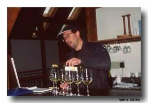 Brad McCarthy pours samplings of his Blenheim Wines. White wines appear to be one of the specialties of Virginia wineries.
