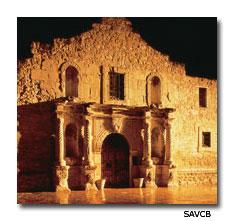 The Alamo at night