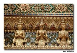 Ornate gold details adorn Bangkok's Grand Palace.