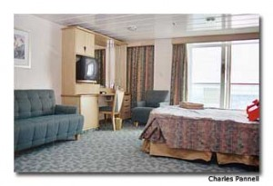 An accessible Deluxe Ocean View stateroom