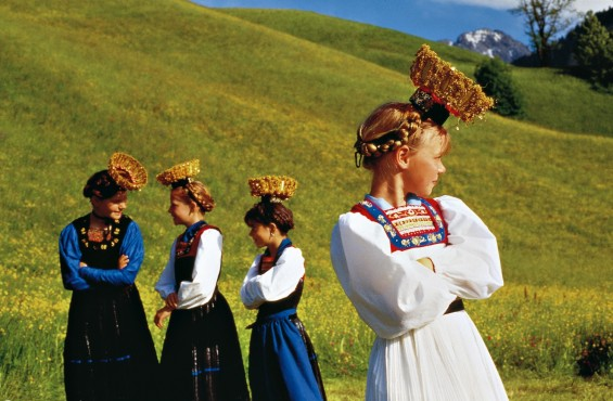 Austrian girls dressed in the traditional costume of Bregenz