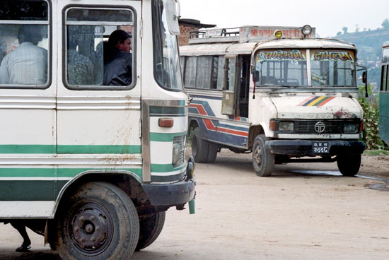 Buses in Nepal. Photo by Dave Underwood and Karen Windlewood