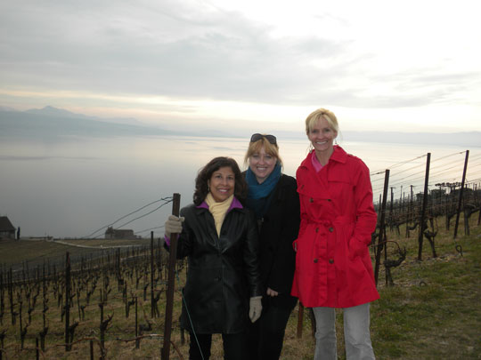 At the Alain Chollet winery overlooking Lake Geneva