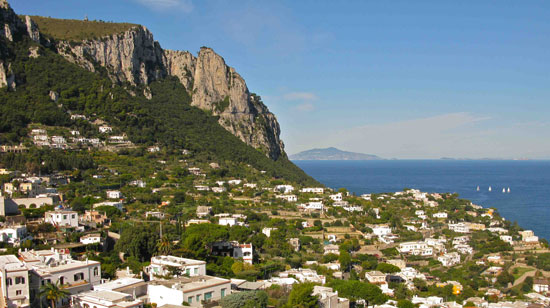 Near the top of a funicular which transports visitors to the town of Capri, a terrace offers sweeping views of the island. Photo by Amy Laughinghouse