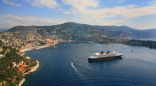 The Disney Magic drops anchor in Villefranche, France. Photo by Disney Cruise Line