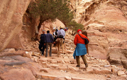 The steps to the Monastery were broken and uneven. A donkey offered a possible solution. Photo by The Ad-Deir Monastery of Petra is well worth the climb. Photo by Habeeb Salloum
