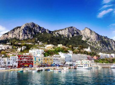 Capri coast and marina in Italy