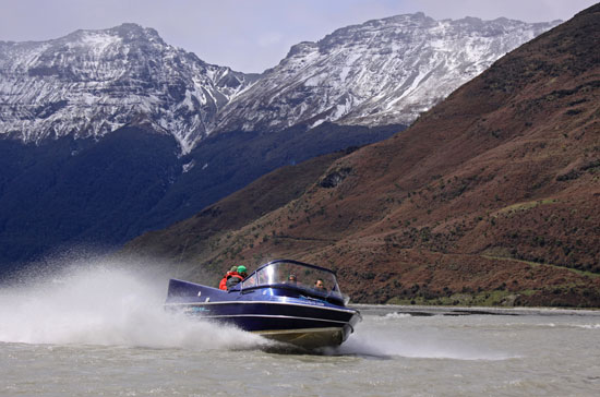 Jet boating up the Dart River in New Zealand